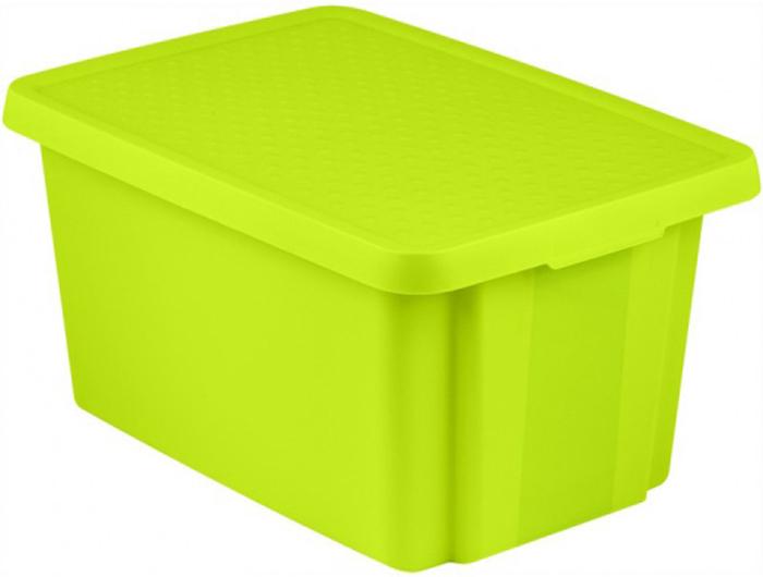 Коробка для хранения Curver Essentials, с крышкой, цвет: зеленый, 45 л00756-598-00Коробка с крышкой Essentials, объем 45 л, зеленая.