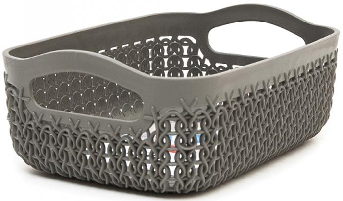 Лоток Curver Knit, цвет: темно-коричневый, А6, 1,3 л00772-X59-00Универсальная лоток Curver Knit изготовлен извысококачественного пластика и оформлен декоративной перфорацией подплетение. Для дополнительного удобства изделие имеет удобные ручки.Такой лоток непременно пригодится в быту, в нем можно хранить разные принадлежности и аксессуары.