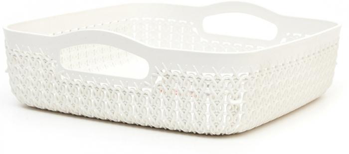 Лоток Curver Knit, цвет: белый, 2,8 л00774-X64-00Универсальная лоток Curver Knit изготовлен извысококачественного пластика и оформлен декоративной перфорацией подплетение. Для дополнительного удобства изделие имеет удобные ручки.Такой лоток непременно пригодится в быту, в нем можно хранить разные принадлежности и аксессуары.