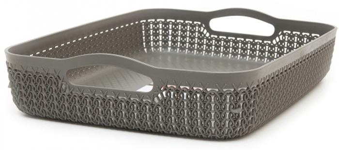 Лоток Curver Knit, цвет: темно-коричневый, А4, 4,5 л00778-X59-00Универсальная лоток Curver Knit изготовлен извысококачественного пластика и оформлен декоративной перфорацией подплетение. Для дополнительного удобства изделие имеет удобные ручки.Такой лоток непременно пригодится в быту, в нем можно хранить разные принадлежности и аксессуары.
