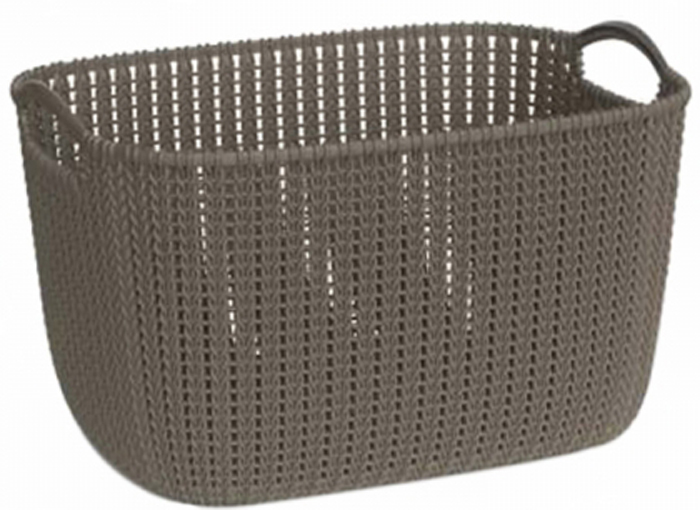 """Универсальная корзина Curver """"Knit"""" изготовлена из  высококачественного пластика и оформлена декоративной перфорацией под плетение. Для дополнительного удобства корзина имеет удобные ручки.  Такая корзина непременно пригодится в быту, в ней можно хранить кухонные принадлежности, специи, аксессуары для ванной и другие бытовые предметы."""