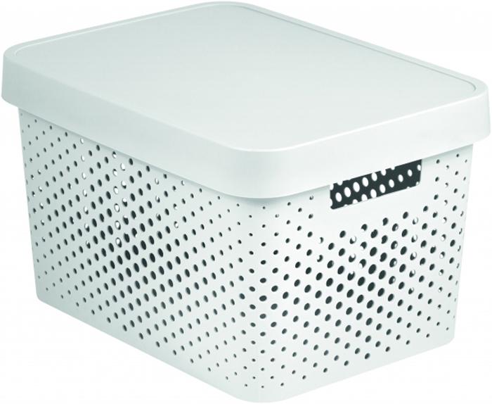 Коробка для хранения Curver Infinity, перфорированная, с крышкой, цвет: белый, 17 л04742-N23-00Коробка перфорированная - практичная и вместительная ёмкость дляхранения всевозможных мелочей. Изготовлена из нетоксичного качественногопластика, объем - 17 литров. Белый цвет и прямые линии делают изделиестильным и универсальным. Оно отлично впишется в любой дизайн ваннойкомнаты, гостиной, прихожей, гардеробной или спальни. В ней удобно хранитькосметику, аксессуары для рукоделия, детские игрушки, овощи и фрукты имногое другое. За счёт отверстий корзина хорошо вентилируется, поэтомуможно её использовать и для белья.