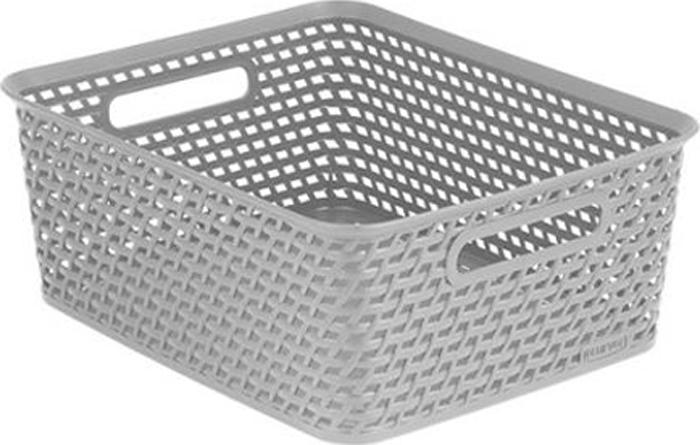"""Универсальная корзина """"Curver"""" изготовлена из  высококачественного пластика и оформлена декоративной перфорацией под плетение. Для дополнительного удобства корзина имеет удобные ручки.  Такая корзина непременно пригодится в быту, в ней можно хранить кухонные принадлежности, специи, аксессуары для ванной и другие бытовые предметы."""