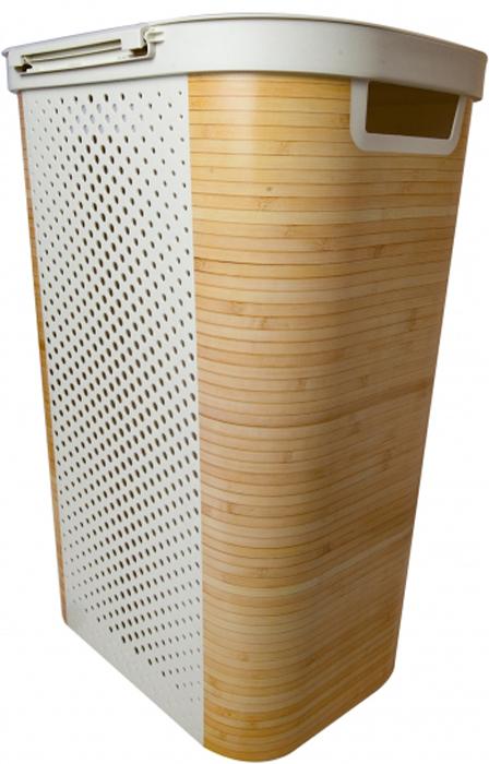 """Корзина для белья Curver """"Bamboo"""" снабжена двумя ручками для удобной переноски и плотно закрывающейся откидной крышкой. Благодаря перфорированным стенкам воздух проникает внутрь, что способствует вентиляции.   Такая корзина прекрасно подойдет для хранения белья перед стиркой.   Стильный дизайн впишется в интерьер любой ванной комнаты.    Объем корзины 60 л."""