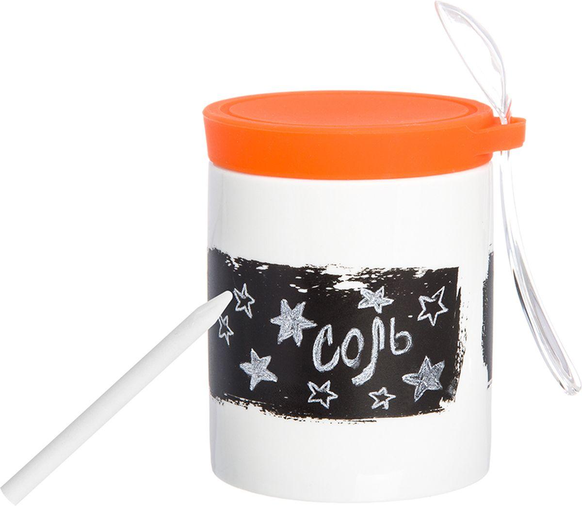Банка для специй Elan Gallery, с наклейкой, ложкой, карандашом и крышкой, цвет: белый, оранжевый, 350 мл900021Банка для специй с ложкой - великолепная идея для подарка, которому обрадуется любая хозяйка, заботящаяся о домашнем уюте и комфорте! Банка отличается оригинальным дизайном и функциональностью. Объем 350 мл. С графитовой наклейкой, с пластиковой ложкой, с карандашом и силиконовой крышкой.