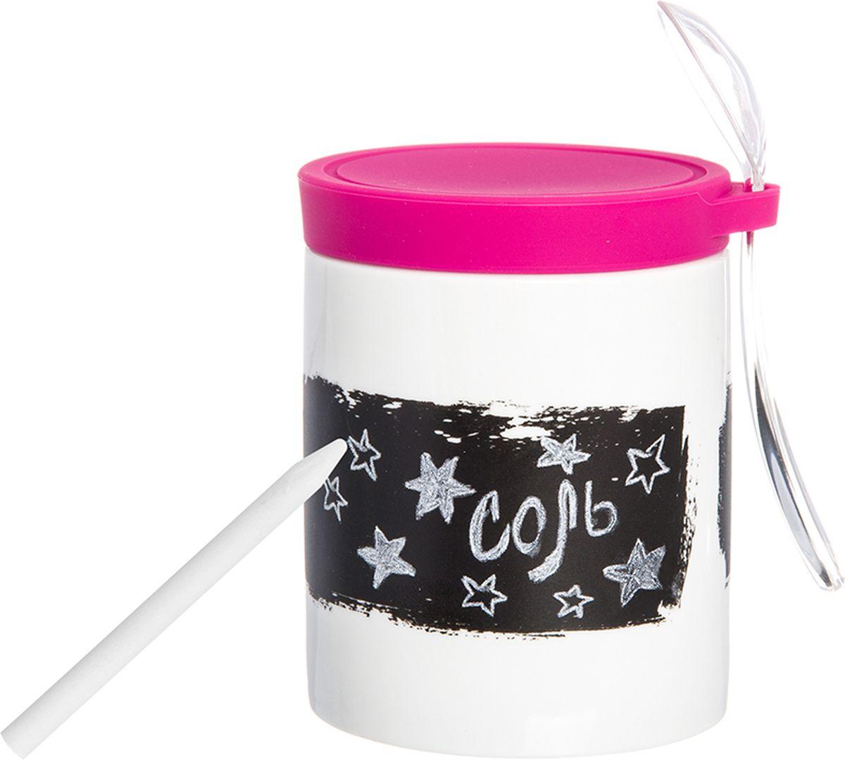 Банка для специй Elan Gallery, с наклейкой, ложкой, карандашом и крышкой, цвет: белый, ярко-розовый, 350 мл900022Банка для специй с ложкой - великолепная идея для подарка, которому обрадуется любая хозяйка, заботящаяся о домашнем уюте и комфорте! Банка отличается оригинальным дизайном и функциональностью. Объем 350 мл. С графитовой наклейкой, с пластиковой ложкой, с карандашом и силиконовой крышкой.