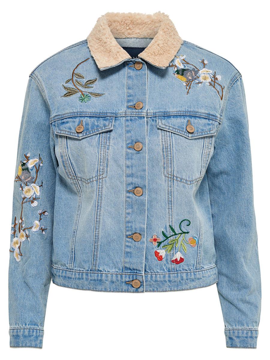 Куртка женская Only, цвет: синий. 15139349_Light Blue Denim. Размер 42 (48) куртка женская only цвет черный 15140836
