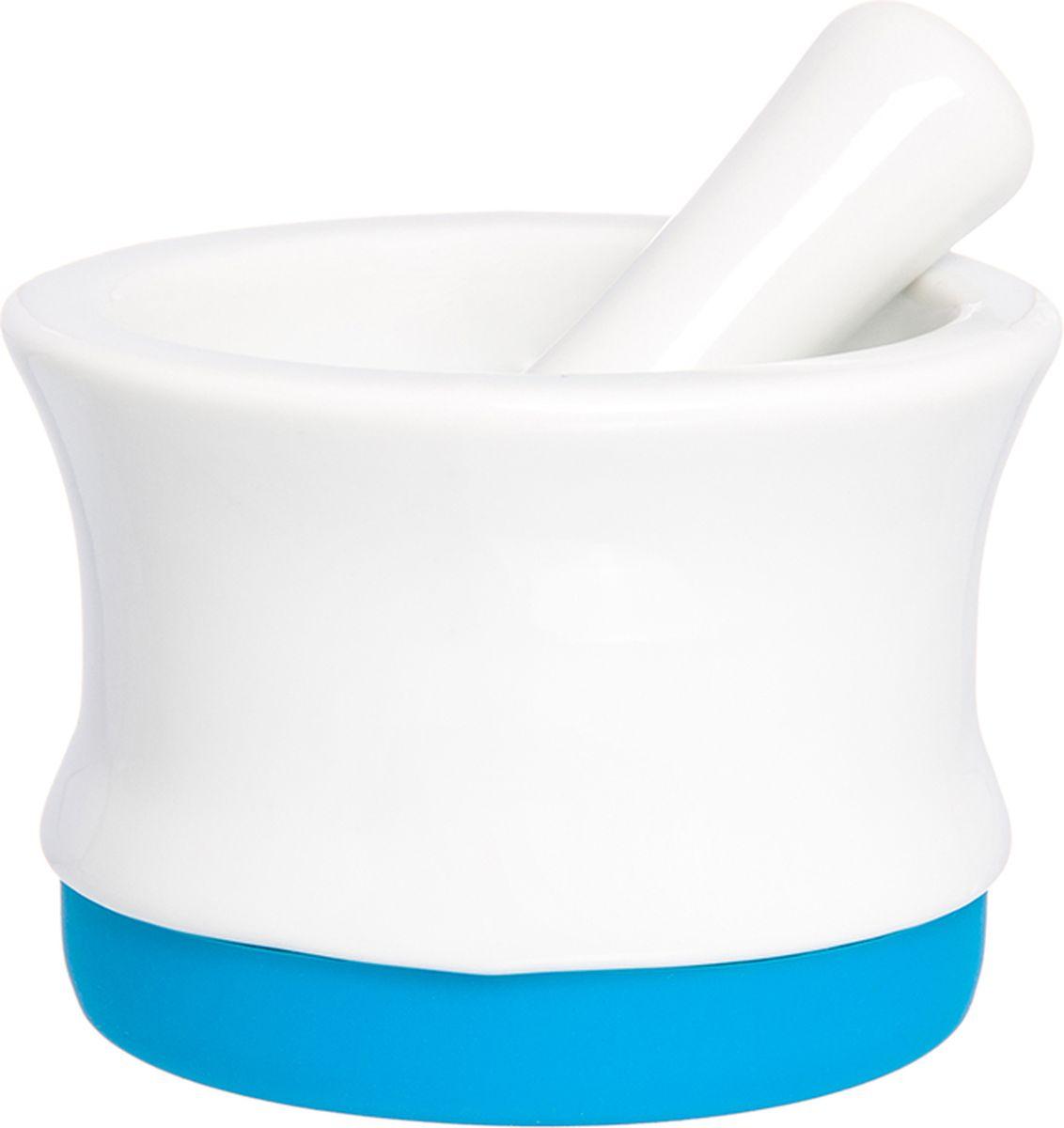 Ступка с пестиком Elan Gallery, с подставкой, цвет: белый, лазурный, 7,5 х 7,5 х 5,3 см900032Ступка с силиконовой ножкой-подставкой и пестиком очень удобна для измельчения специй. Незаменимый помощник на кухне. Отличный подарок для искусных кулинаров.