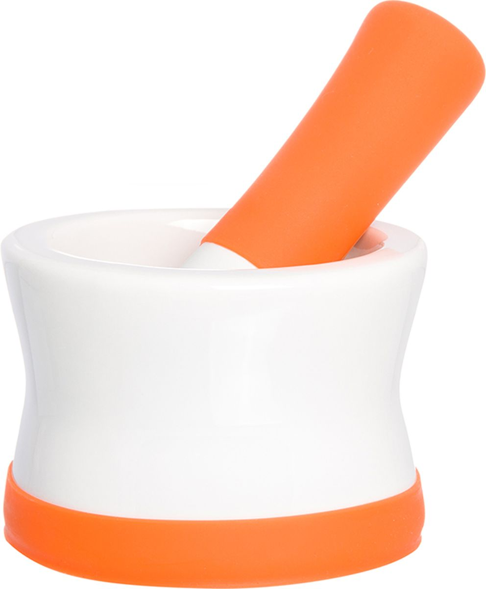Ступка с пестиком Elan Gallery, с подставкой, цвет: белый, оранжевый, 11,5 х 11,5 х 8 см900037Ступка с силиконовой ножкой-подставкой и пестиком очень удобна для измельчения специй. Незаменимый помощник на кухне. Отличный подарок для искусных кулинаров.