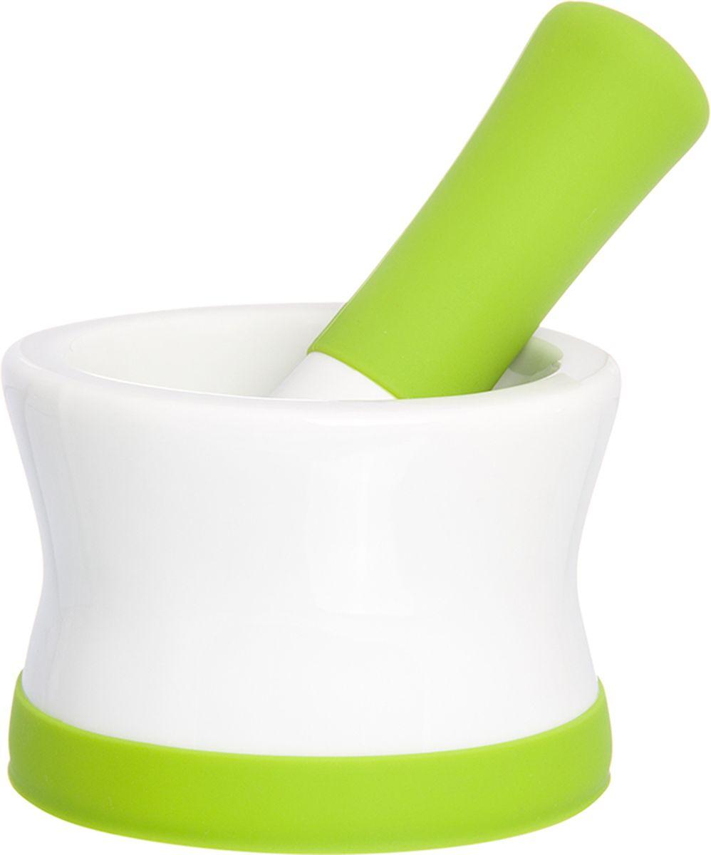 Ступка с пестиком Elan Gallery, с подставкой, цвет: белый, салатовый, 11,5 х 11,5 х 8 см900039Ступка с силиконовой ножкой-подставкой и пестиком очень удобна для измельчения специй. Незаменимый помощник на кухне. Отличный подарок для искусных кулинаров.