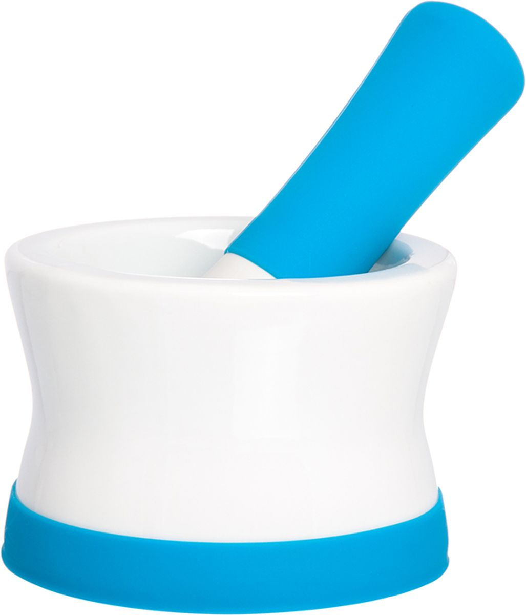 Ступка с пестиком Elan Gallery, с подставкой, цвет: белый, лазурный, 11,5 х 11,5 х 8 см900040Ступка с силиконовой ножкой-подставкой и пестиком очень удобна для измельчения специй. Незаменимый помощник на кухне. Отличный подарок для искусных кулинаров.