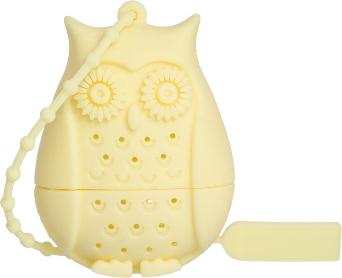 Ситечко для чая Elan Gallery Сова, цвет: лимонный, 4 х 3,3 х 5 см900052Силиконовое ситечко для заварки чая и трав прекрасно подойдет всем любителям чая. Ситечко довольно вместительное, с удобным силиконовым шнурком. Размер 4х3,3х5 см.