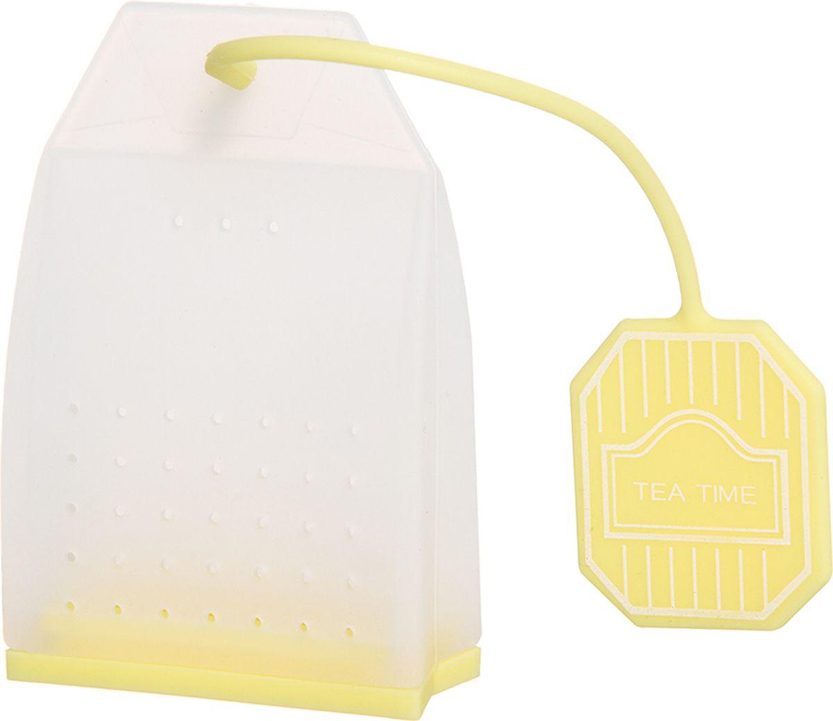 Ситечко для чая Elan Gallery Пакетик, цвет: белый, лимонный, 4,5 х 6,7 х 2 см900060Силиконовое ситечко для заварки чая и трав прекрасно подойдет всем любителям чая. Ситечко довольно вместительное, с удобным силиконовым шнурком. Размер 4х3,3х5 см.