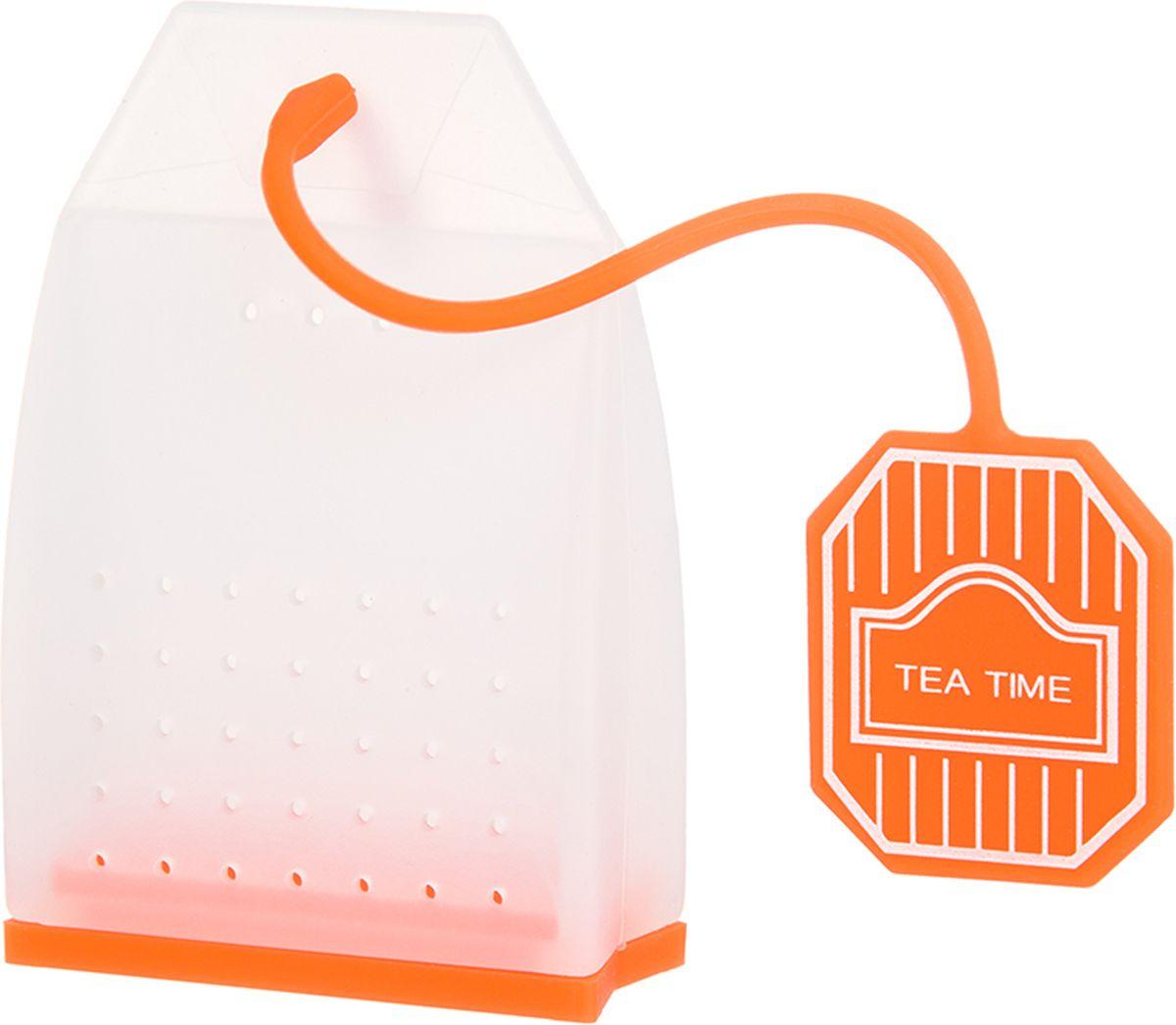 Ситечко для чая Elan Gallery Пакетик, цвет: белый, оранжевый, 4,5 х 6,7 х 2 см900061Силиконовое ситечко для заварки чая и трав прекрасно подойдет всем любителям чая. Ситечко довольно вместительное, с удобным силиконовым шнурком. Размер 4х3,3х5 см.