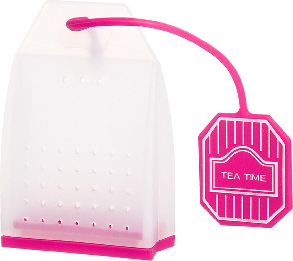 Ситечко для чая Elan Gallery Пакетик, цвет: белый, ярко-розовый, 4,5 х 6,7 х 2 см900062Силиконовое ситечко для заварки чая и трав прекрасно подойдет всем любителям чая. Ситечко довольно вместительное, с удобным силиконовым шнурком. Размер 4х3,3х5 см.