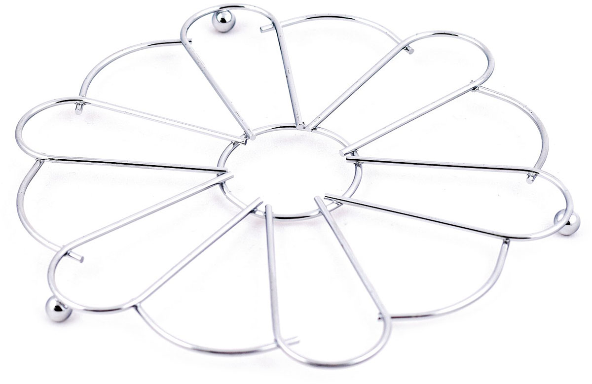 """Подставка под горячее Мультидом """"Ромашка"""" используется для защиты поверхности стола, скатерти, клеенки и других предметов от повреждений. Изготовлена из стальной хромированной проволоки."""