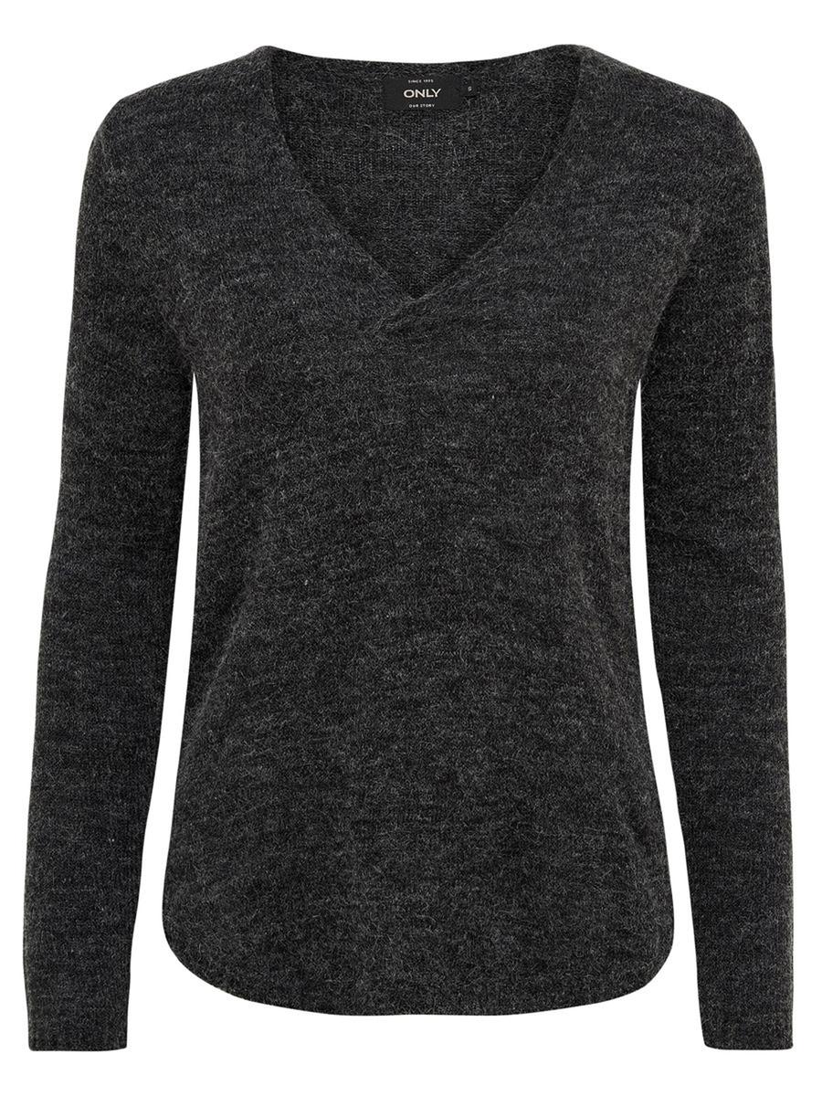 Пуловер женский Only, цвет: темно-серый. 15139000_Dark Grey Melange. Размер XS (40/42) платье only цвет черный 15139191 black размер xs 40 42