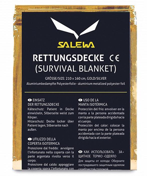 Одеяло спасательное Salewa Rescue Blanket, цвет: золотистый, 210 x 160 смGINSG40SСпасательное теплоотражающее одеяло Salewa Rescue Blanket имеет отражающую поверхность. Может быть использовано повторно. Очень легкое и компактное.