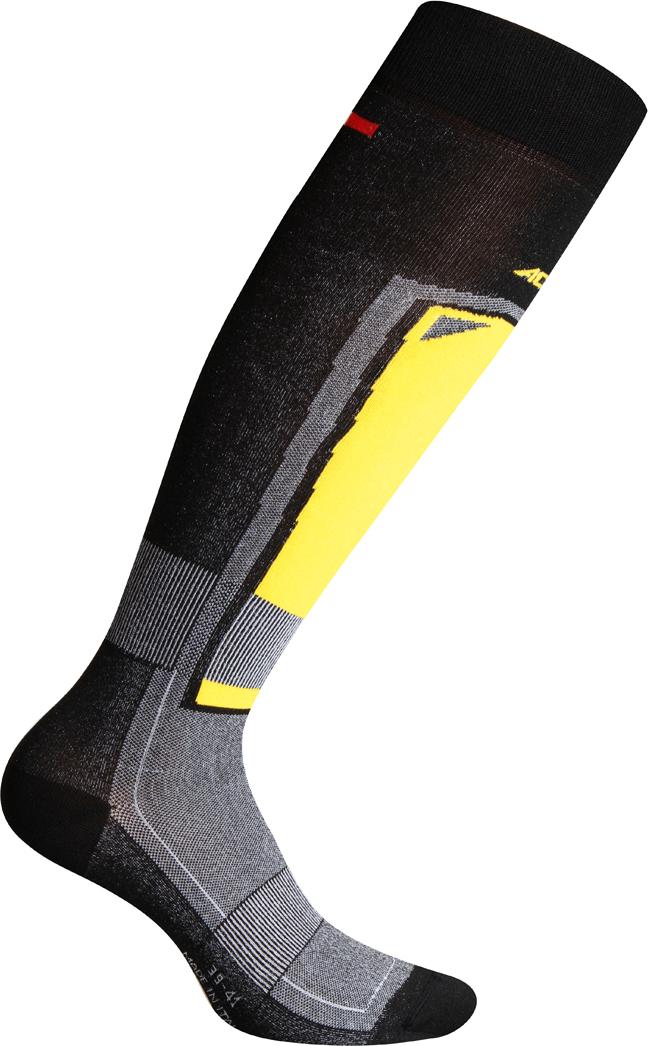 Носки Accapi Ski Touch, цвет: черный, серый, желтый. 945_920. Размер 42/44945_920Горнолыжные носки, благодаря большому содержанию полипропилена, великолепно отводят влагу с поверхности кожи, даже при очень сильном потоотделении. Зоны высокой плотности защищают стопы и лодыжки от натирания и мозолей, а также от переохлаждения. Состав: 59% полипропилен, 37% нейлон, 4% эластан.