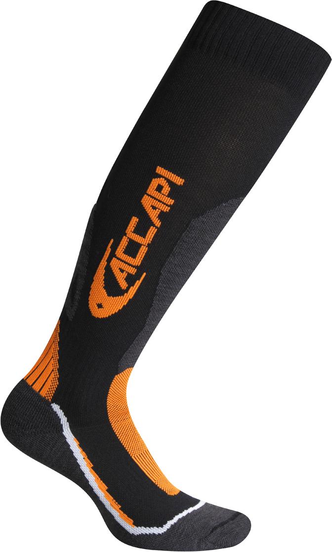 Носки Accapi Ski Performance, цвет: черный, серый, оранжевый. 935_999. Размер 42/44935_999Горнолыжные носки с Thermo light от компании DuPont. Thermo light поддерживает оптимальную комфортную температуру при любой активности, в любых погодных условиях. Состав: 72% нейлон, 13% шерсть, 13% акрил, 2% эластан