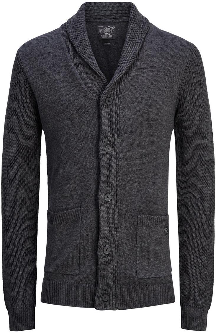 Кардиган мужской Jack & Jones, цвет: темно-серый. 12124509_Dark Grey Melange. Размер 48/5012124509_Dark Grey Melange