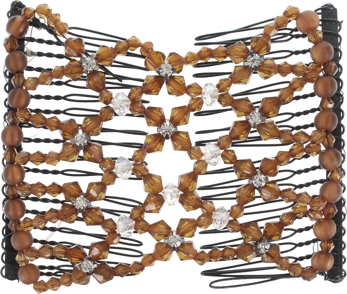 EZ-Combs Заколка Изи-Комбс, одинарная, цвет: коричневый. ЗИО_стразыЗИО_коричневый, стразыУдобная и практичная EZ-Combs подходит для любого типа волос: тонких, жестких, вьющихся или прямых, и не наносит им никакого вреда. Заколка не мешает движениям головы и не создает дискомфорта, когда вы отдыхаете или управляете автомобилем. Каждый гребень имеет по 20 зубьев для надежной фиксации заколки на волосах! И даже во время бега и интенсивных тренировок в спортзале EZ-Combs не падает; она прочно фиксирует прическу, сохраняя укладку в первозданном виде.Небольшая и легкая заколка для волос EZ-Combs поместится в любой дамской сумочке, позволяя быстро и без особых усилий создавать неповторимые прически там, где вам это удобно. Гребень прекрасно сочетается с любой одеждой: будь это классический или спортивный стиль, завершая гармоничный облик современной леди. И неважно, какой образ жизни вы ведете, если у вас есть EZ-Combs, вы всегда будете выглядеть потрясающе.