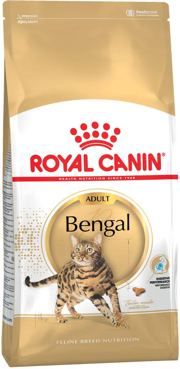 Сухой корм Royal Canin Bengal, для взрослых бенгальских кошек старше 12 месяцев, 400 г134004БЕНГАЛЬСКАЯ КОШКА ПРИТЯГИВАЕТ ВЗГЛЯД!Страна происхождения: Соединенные Штаты Америки.История современной бенгальской кошки началась в 1963 году, со скрещивания домашней и азиатской леопардовой кошки. Постепенно селекционерам удалось получить породу, которая сейчас признана фелинологическими организациями всего мира и пользуется огромной популярностью у любителей. Это настоящий «маленький леопард»!Вечно в движении.Эта кошка всегда там, где кипит жизнь, она непременно должна находиться в центре внимания! Вашему «бенгалу» нравится быть рядом с людьми, он исследует все, до чего может дотянуться. Разыгравшуюся бенгальскую кошку не так просто остановить: ее энергия бьет через край!ОТЛИЧИТЕЛЬНЫЕ ЧЕРТЫ ПОРОДЫ.Высокая активность.Бенгальская кошка полна энергии, мускулиста и очень подвижна. Ее движения плавны и стремительны. Ей нужна диета, которая будет поддерживать здоровье при таком высоком уровне активности.Характерный рисунок шерсти.Особенность бенгальской породы – шерстный покров с ярким рисунком. Роскошная мягкая, плотно прилегающая к телу шерсть имеет пятнистый, как у леопарда, или мраморный окрас.Чувствительность пищеварения.Заводчики бенгальской породы часто отмечают чувствительность пищеварительной системы этих кошек и рекомендуют для них высокоусвояемую диету с высоким содержанием белка.ПИТАНИЕ, ОТВЕЧАЮЩЕЕ ОСОБЫМ ПОТРЕБНОСТЯМ ПОРОДЫ. Специально для челюстей бенгальской кошки. Y-образные крокеты адаптированы для челюстей кошек бенгальской породы. Форма крокет способствует их тщательному разгрызанию и поддержанию гигиены ротовой полости.Поддержка пищеварительной функции.Высокоусвояемые белки (L.I.P.*), адаптированное содержание клетчатки (в том числе подорожника Psyllium) и пребиотики поддерживают баланс кишечной микрофлоры.* Специально отобранные белки с высокой степенью усвояемости.Атлетическое сложение.Высокий уровень белков (40 %) и умеренный уровень жиров (18 %) – оптима