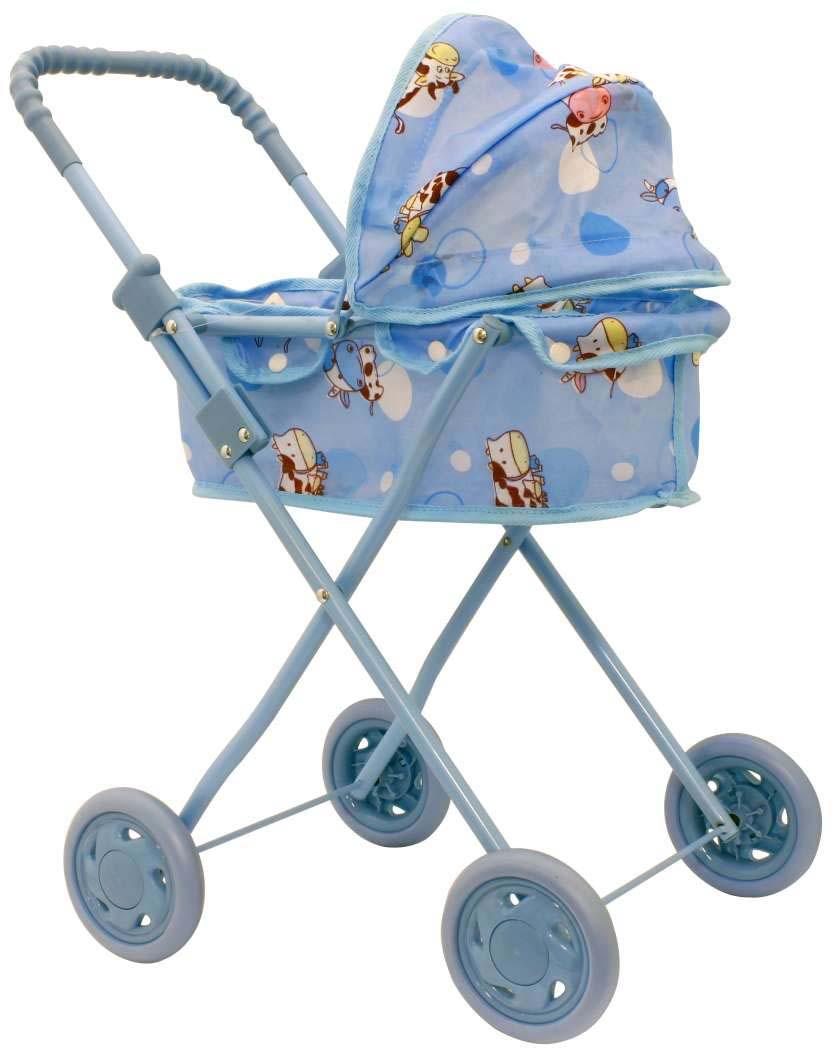 1toy Транспорт для кукол Коляска-люлька цвет голубой Т53129 1toy транспорт для кукол коляска цвет синий