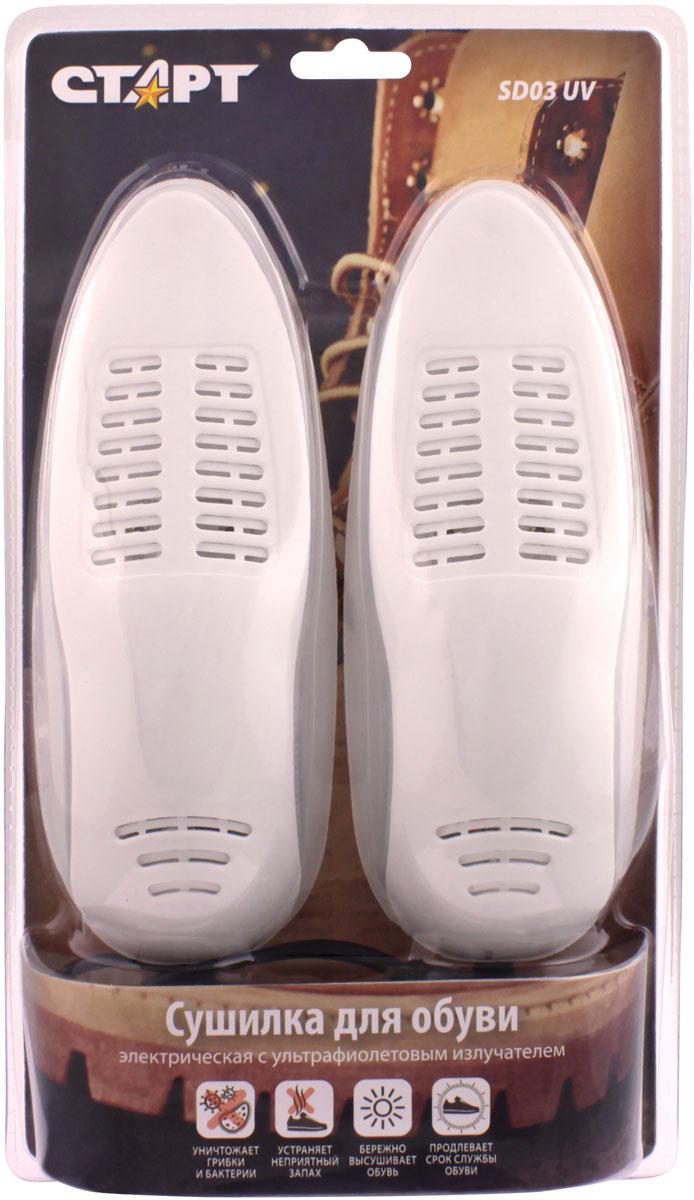 Сушилка для обуви Стар SD03 UV, электрическая11890Сушилка для обуви Старт предназначена для бережного удаления влаги из обуви. Сушилка представляет из себя 2 пластиковые вставки с нагревательными элементами внутри, соединенные между собой шнуром для подключения кбытовой электрической сети. Особенности:• Сушилки для обуви СТАРТ прошли процедуру сертификации и полностью соответствуют стандартам безопасности, предъявляемым к низковольтномуоборудованию;• Широкий ассортимент сушилок с различными потре-бительскими свойствами и ценой;• Все сушилки прошли тестирование специалистамикомпании. Температурный режим подобран такимобразом, чтобы высушить обувь за 4-6 часов, приэтом сохраняя её первоначальный облик;• Яркий и оригинальный дизайн сушилок;• Лучшее на рынке сочетание высокого качества и низ-кой цены;• Сушилки СТАРТ изготовлены из уникального пласти-ка, который при нагревании производит приятныйзапах.