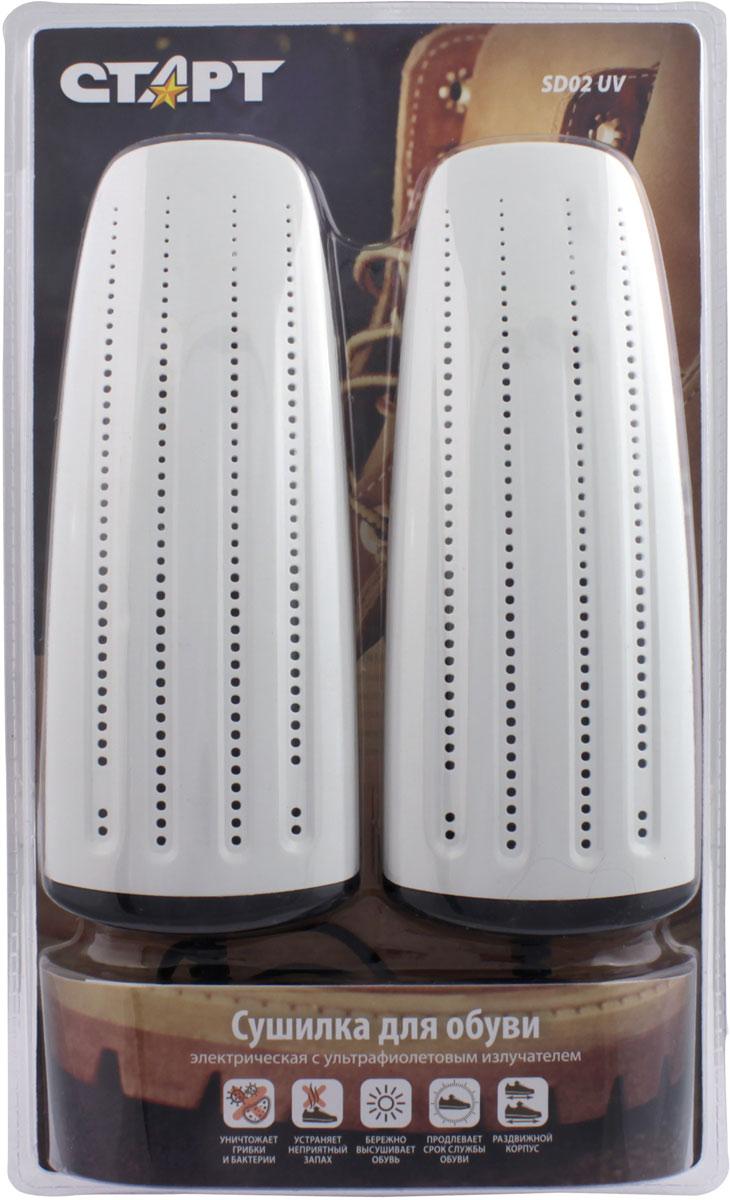 Сушилка для обуви Стар SD02 UV, электрическая11977Сушилка для обуви Старт предназначена для бережного удаления влаги из обуви. Сушилка представляет из себя 2 пластиковые вставки с нагревательными элементами внутри, соединенные между собой шнуром для подключения кбытовой электрической сети. Особенности:• Сушилки для обуви СТАРТ прошли процедуру сертификации и полностью соответствуют стандартам безопасности, предъявляемым к низковольтномуоборудованию;• Широкий ассортимент сушилок с различными потре-бительскими свойствами и ценой;• Все сушилки прошли тестирование специалистамикомпании. Температурный режим подобран такимобразом, чтобы высушить обувь за 4-6 часов, приэтом сохраняя её первоначальный облик;• Яркий и оригинальный дизайн сушилок;• Лучшее на рынке сочетание высокого качества и низ-кой цены;• Сушилки СТАРТ изготовлены из уникального пласти-ка, который при нагревании производит приятныйзапах.