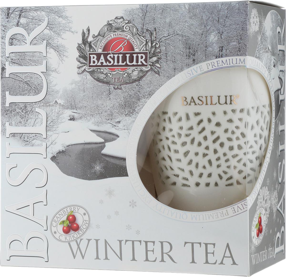 Basilur Winter Tea подарочный набор черный чай с фарфоровой кружкой, 100 г basilur чайный набор букет белое волшебство