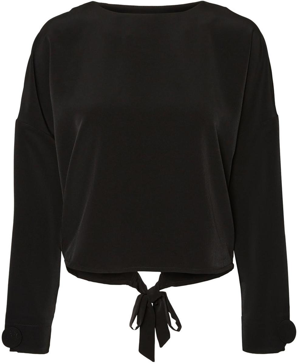 Блузка женская Vero Moda, цвет: черный. 10187780_Black. Размер 40/4210187780_BlackЖенская блузка от Vero Moda выполнена из высококачественного материала. Модель с длинными рукавами и круглым вырезом горловины. Спинка выполнена на запах.