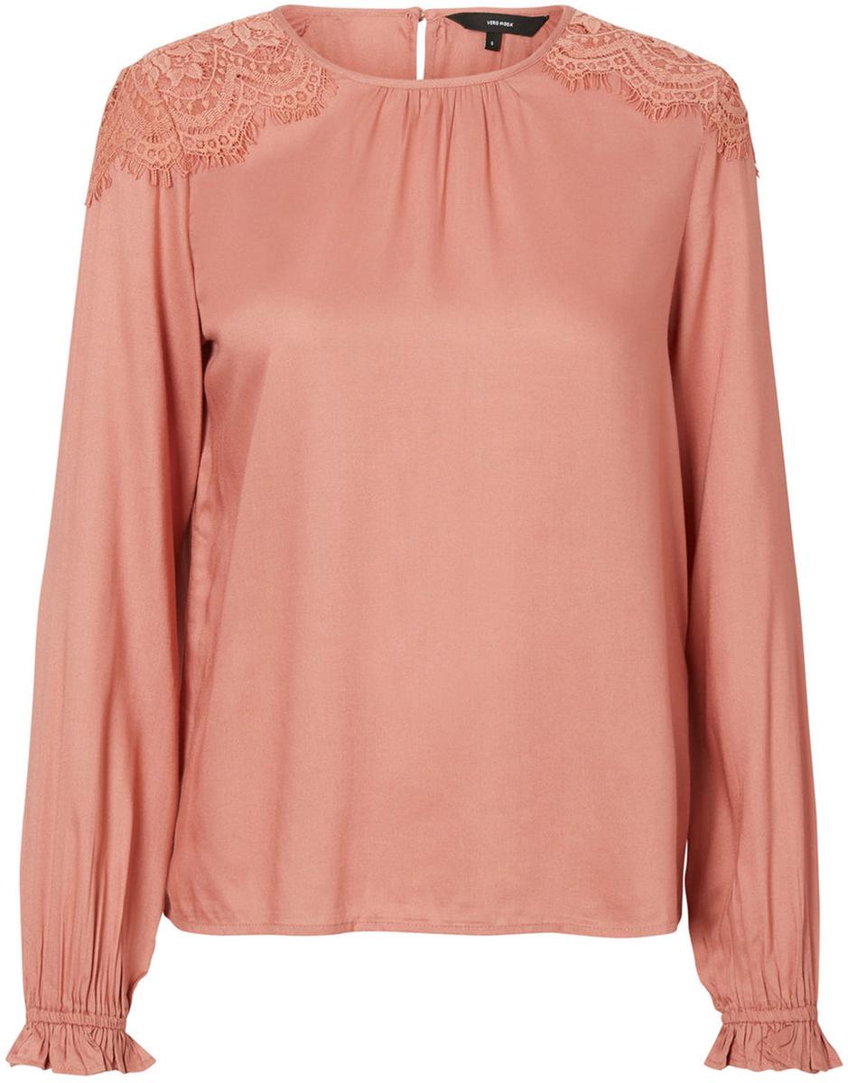 Блузка женская Vero Moda, цвет: розовый. 10192174_Old Rose. Размер 42/4410192174_Old RoseЖенская блузка от Vero Moda выполнена из 100% вискозы. Модель с длинными рукавами и круглым вырезом горловины на спинке застегивается на пуговицу.