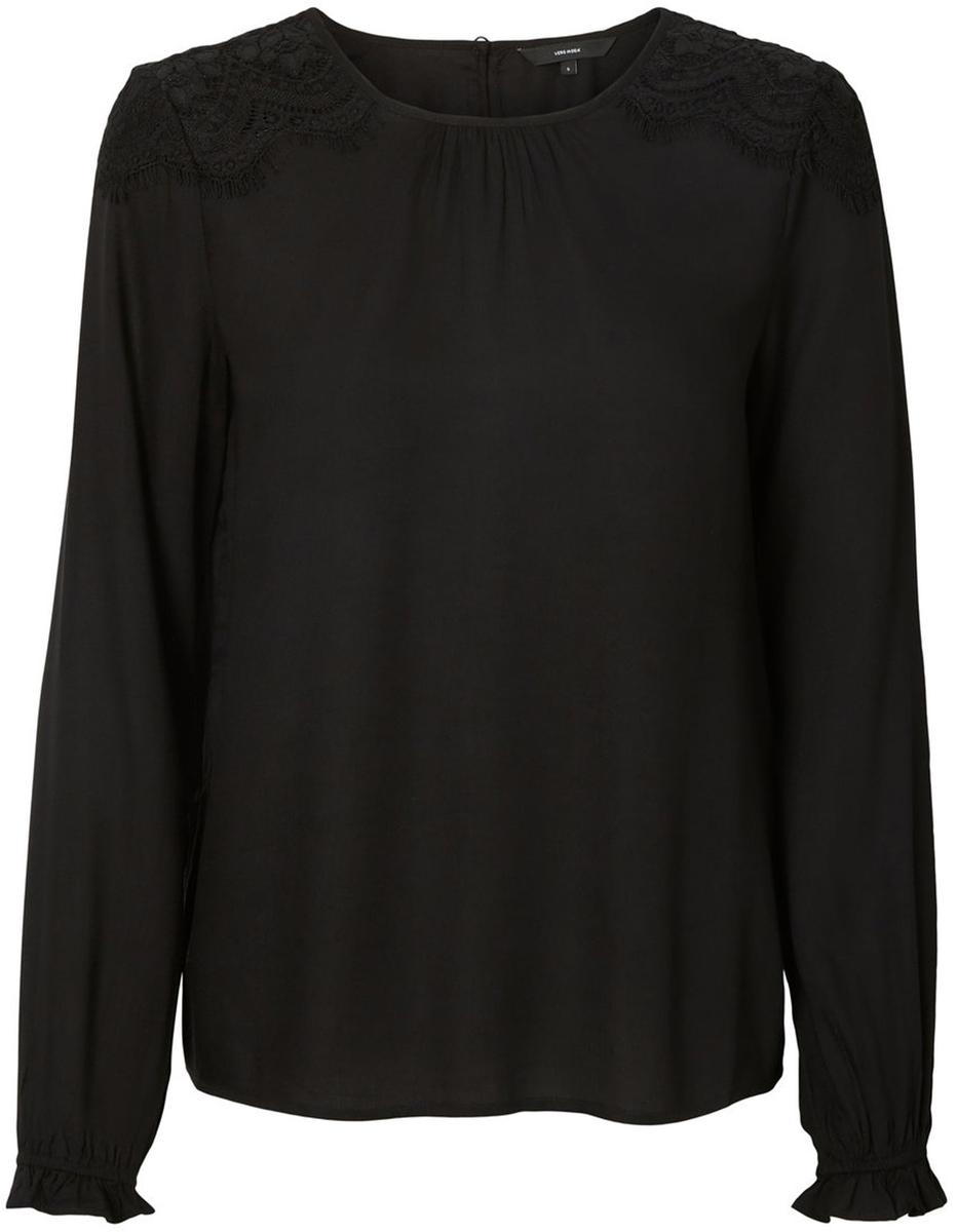 Блузка женская Vero Moda, цвет: черный. 10192174_Black. Размер 46/4810192174_BlackЖенская блузка от Vero Moda выполнена из 100% вискозы. Модель с длинными рукавами и круглым вырезом горловины на спинке застегивается на пуговицу.