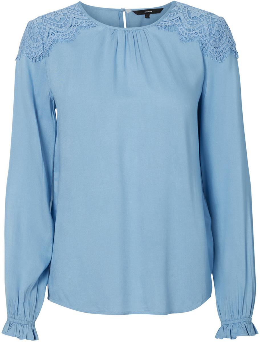 Блузка женская Vero Moda, цвет: синий. 10192174_Allure. Размер 46/4810192174_AllureЖенская блузка от Vero Moda выполнена из 100% вискозы. Модель с длинными рукавами и круглым вырезом горловины на спинке застегивается на пуговицу.