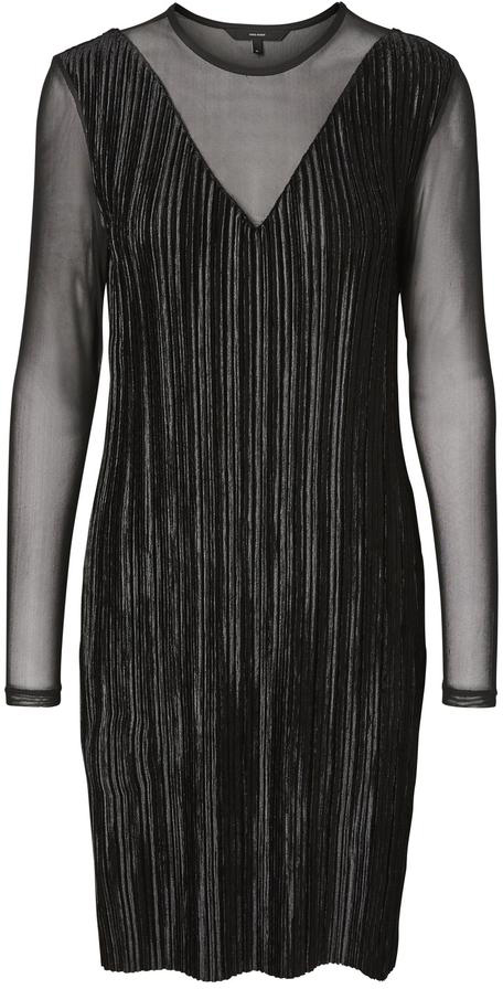 Платье Vero Moda, цвет: черный. 10188396_Black. Размер 40/4210188396_BlackСтильное платье от Vero Moda выполнено из высококачественного материала. Рукава и вставки на груди выполнены из полупрозрачного материала. Модель облегающего кроя с длинными рукавами и круглым вырезом горловины.