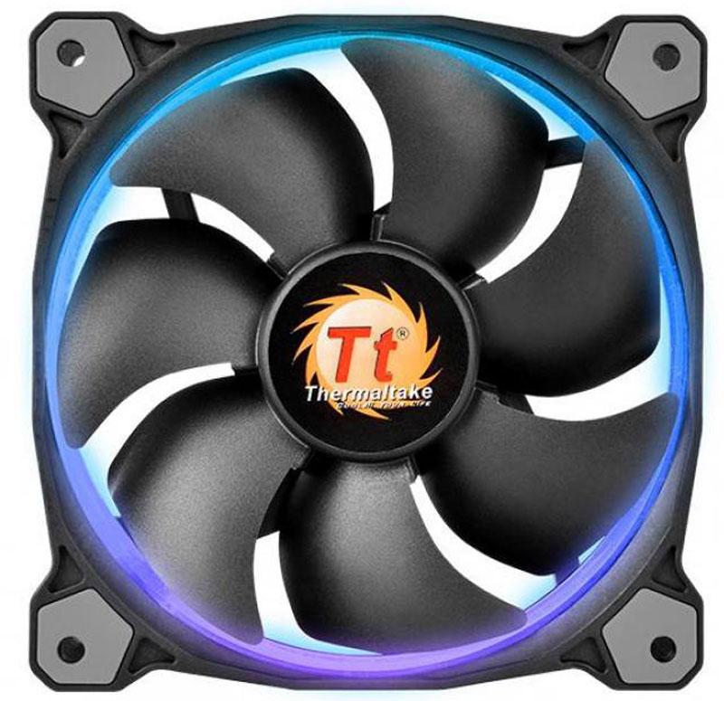 Thermaltake Riing 14 LED 256 Color вентилятор компьютерный, 3 штCL-F043-PL14SW-BСовременный компьютер выделяет в процессе работы очень много тепла. Даже если речь идет о бюджетной модели.Спектр проблем, с которыми может столкнуться юзер, не обеспечивший должный уровень охлаждения для своего ПК, весьма широк.Самая безобидная - это так называемый троттлинг процессора или, например, видеокарты. Данный процесс предполагает понижение уровня производительности в ситуациях, когда температура платы достигает критической отметки.В худшем случае вы получите одно или несколько вышедших из строя комплектующих, восстановить которые уже не получится.И дабы не оказаться в подобной ситуации, рекомендуется не экономить на вентиляторе и установить заведомо хорошую модель Thermaltake Riing 14 LED 256 Color. Тем более, что ценник достаточно гуманный и вполне адекватный возможностям устройства.Ключевой особенностью данной модели является изогнутая форма лопастей, которая является гарантией высокоэффективной работы.Уровень шума при этом находится на минимальной отметке - все благодаряиспользованию гидродинамических подшипников. А крепежи изготовлены из специального материала, препятствующего появлению вибраций и существенно продлевающего срок службы устройства.Скорость работы регулируется на интеллектуальном уровне - в зависимости от степени нагрузки на систему, а также температуры внутри корпуса.Кроме того, Thermaltake Riing 14 LED 256 Color является не только высокоэффектным, но еще и стильным вентилятором, оснащенным подсветкой. Если ваш корпус обладает прозрачным окошком, то после установки данной модели ПК в буквальном смысле засияет новыми красками.