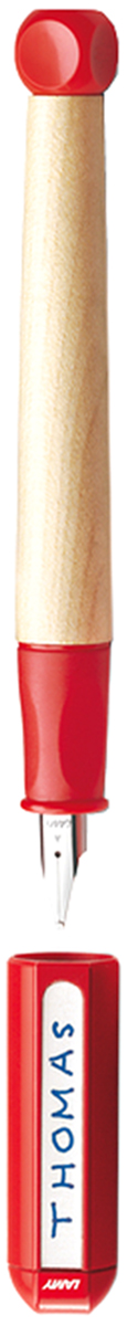 Lamy Ручка перьевая ABC цвет корпуса красный толщина A4000070Перьевая ручка для обучения письму. Рекомендована к использованию в начальной школе в 70% школ Германии. Разработана дизайнерами, педагогами и психологами специально для детей, делающих первые шаги в письме. В отличие от шариковых ручек, перьевая ручка не требует сильного нажима при письме, что помогает ребенку легче справляться с освоением письма и сохранить осанку. Резиновый эргономичный хват, прикрывающий основание пера, с легкими углублениями для пальцев. Разгружает руку, предотвращая уставание при письме, онемение пальцев, а также соскальзывание пальцев к пишущему узлу. Корпус из легкого и прочного кленового дерева. Кубик на конце ручки не дает ей скатываться с парты. Колпачок можно подписать. Наклейки прилагаются. Стальное заменяемое перо для начинающих.Цвет деталей корпуса: красный. Перьевая ручка используется с чернильными картриджами LAMY T10 или с конвертером LAMY Z28 для заправки чернилами из флакона LAMY T51 или LAMY T52. Модель также доступна, как автоматический карандаш (1,4 мм) для освоения письма печатных букв и цифр. Дизайн: проф. Бернт Шпигель. История бренда LAMY насчитывает более 80-ти лет, а его философия заключается в слогане Дизайн. Сделано в Германии. Компания получила более 100 самых престижных дизайнерских наград. Все пишущие инструменты LAMY производятся на фабрике в Гейдельберге (Германия).