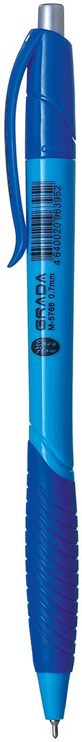 Mazari Ручка шариковая Grada цвет синийМ-5766Ручка шариковая автоматическая Grada, синяя, цвет чернил синий, серия Easy Flow, чернила на масляной основе (Германия), пулевидный пишущий узел 0.7мм (Швейцария), корпус пластиковый цветной, с резиновым грипом, в картонной коробке.