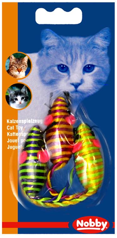 Набор игрушек для животных Nobby Мышка полосатая, 5 см, 3 шт80018Набор игрушек для животных Nobby состоит из трех текстильных мышек в ярком полосатом оформлении. Такие игрушки порадуют вашего любимца, а вам доставят массу приятных эмоций, ведь наблюдать за игрой всегда интересно и приятно.Длина мышки: 5 см.