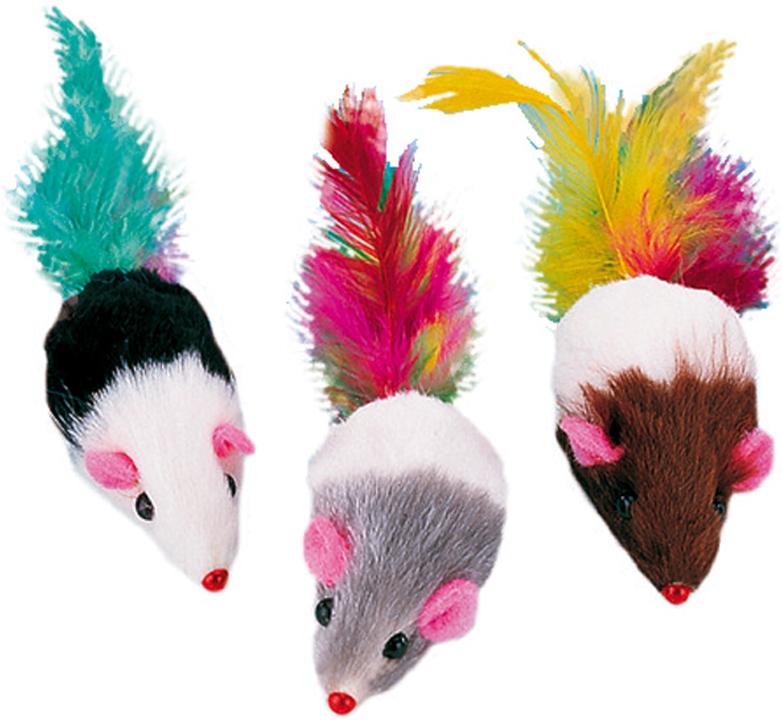 Набор игрушек для животных Nobby Мышка, с перьями, 5 см, 3 шт