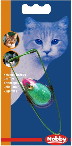Игрушка для кошек Nobby Мяч, с перьями, на резинке, диаметр 7 см игрушки для животных zoobaloo игрушка для кошки бамбук плюшевый мяч на резинке 60см