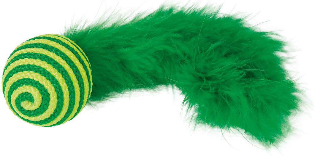 Игрушка для кошек Nobby Мяч, с перьями, цвет: зеленый, длина 19 см