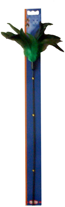 Игрушка для кошек Nobby Дразнилка, с перьями, длина 59 см игрушка для животных каскад удочка с пауком и перьями длина 58 5 см