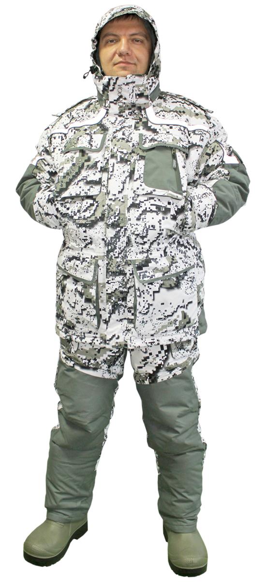 Костюм рыболовный зимний Woodland Extreme Camo, цвет: белый, хаки. Размер XL (52/54)Extreme CamoКостюм зимний Woodland Extreme Camo предназначен для эксплуатации при температуре до -40°C. Костюм разработан как одежда для зимней рыбалки и охоты, с полной адаптацией для езды на снегоходах, с возможностью использования в условиях повышенных физических нагрузок и в стационарном режиме. Выполнен костюм из высококачественной мембранной ткани. Особенности:3 в 1: верхняя куртка, внутренняя куртка, комбинезон.Мембрана нового поколения Woodland Microshield.Максимальный комфорт: пароотведение, защита от влаги с наружи и сохранение тепла внутри.Надежная металлическая фурнитура.Светоотражающие элементы безопасности.Неопреновые манжеты.Проклеенные швы.Усиленная ткань со вставками из полиуретана.