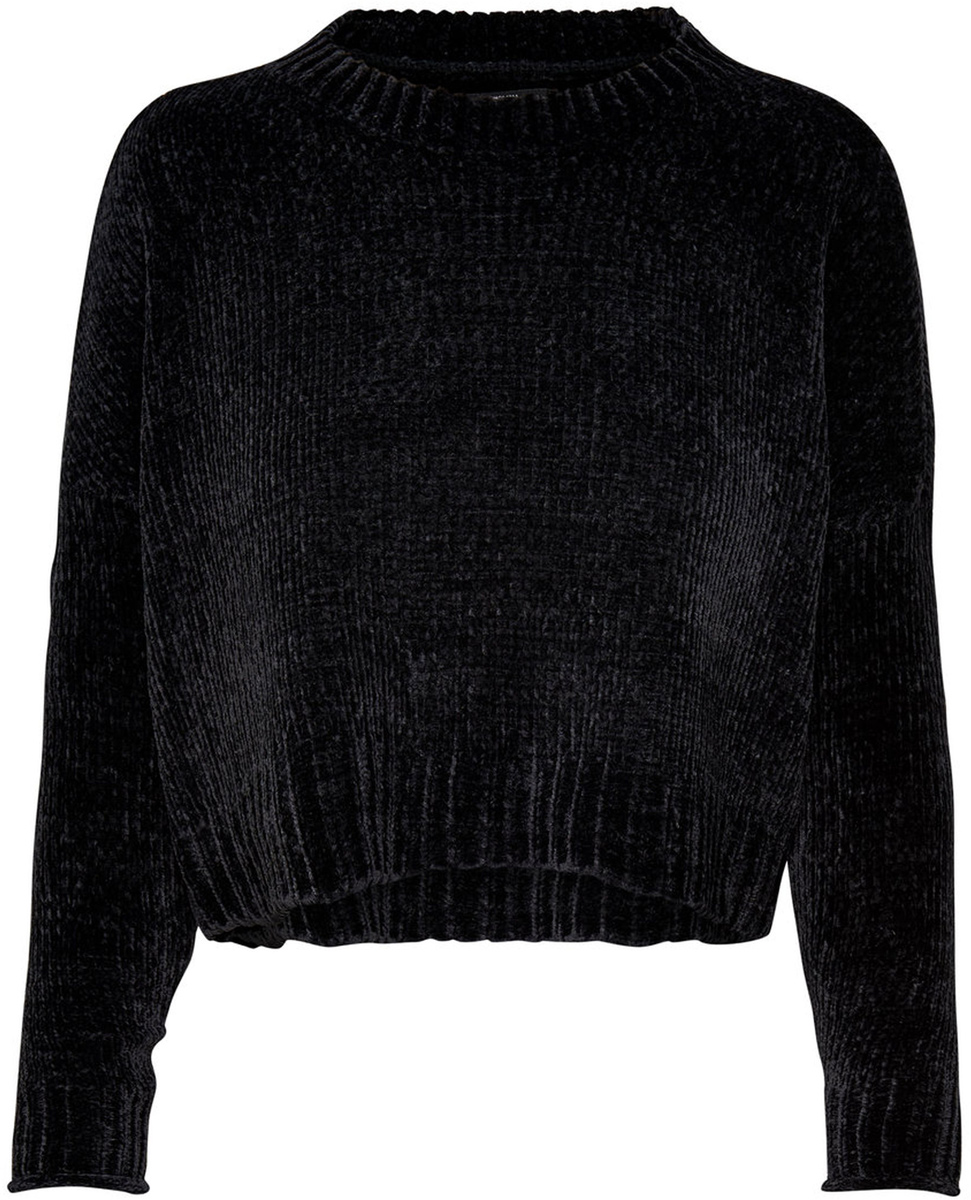Пуловер женский Only, цвет: черный. 15141692_Black. Размер L (48)15141692_BlackЖенский укороченный пуловер от Only выполнен из высококачественной пряжи. Модель с длинными рукавами со спущенным плечом и круглым вырезом горловины.