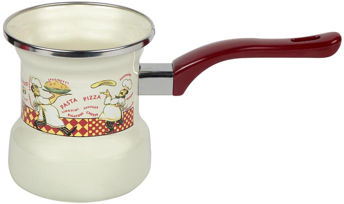 Турка эмалированная Металац Повара, на 4 чашки. 140499140499Турка Металац Повара прекрасно подходит для приготовления настоящего кофе на плите.Изготовлена из стали с эмалированным покрытием. Изделие оснащено эргономичной ручкой.Такая турка органично впишется в интерьер вашей кухни и станет замечательным подарком клюбому случаю.Подходит для всех видов плит. Можно мыть в посудомоечной машине.