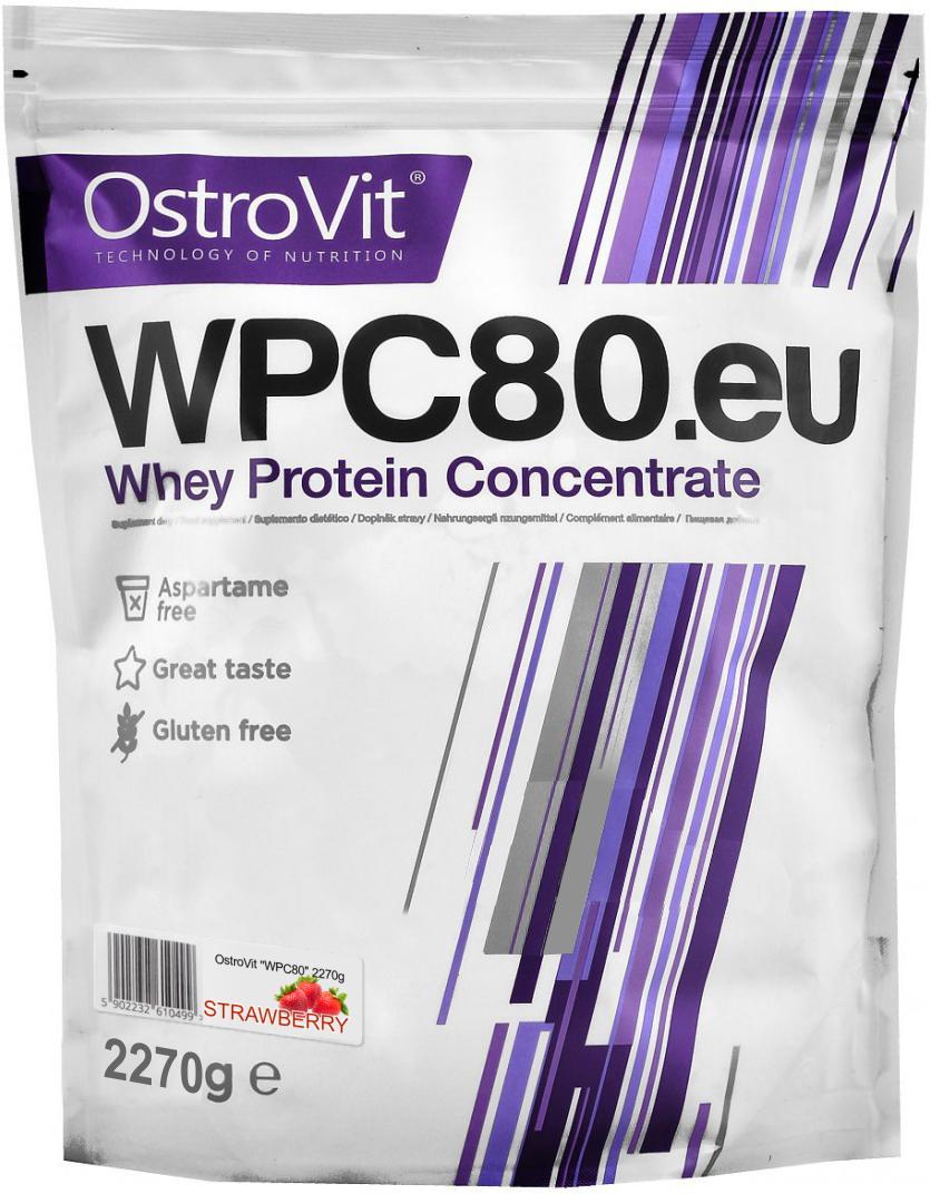 Протеин OstroVit WPC80, клубника, 2,27 кг5902232610772Высококачественный Европейский протеин Ostrovit с Международной сертификацией GMP имеет в составе 80% белка и комплекс незаменимыхаминокислот BCAA и EAA.Состав (1 мерная ложка - 30 г): калории 114 Ккал, белок 23,4 г, жиры 1,8 г, углеводы 4,29 г, натрий 0,225 мг, соль0,14 г. Ингредиенты: концентрат сывороточного белка, полученный путем ультрафильтрации, рапсовый лецитин, сукралоза, подсластитель (экстрактстевии). Как повысить эффективность тренировок с помощьюспортивного питания? Статья OZON Гид