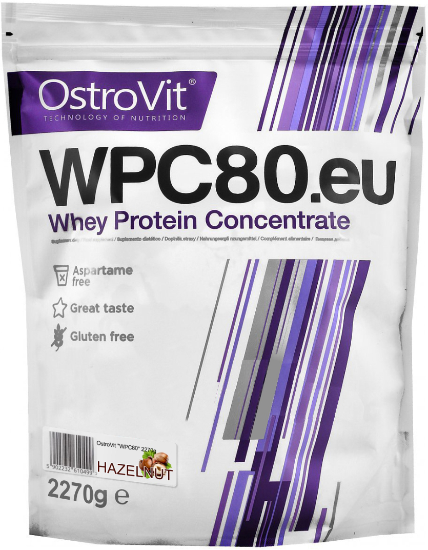Протеин OstroVit WPC80, лесной орех, 2,27 кг5902232610796Высококачественный Европейский протеин Ostrovit с Международной сертификацией GMP имеет в составе 80% белка и комплекс незаменимыхаминокислот BCAA и EAA.Состав (1 мерная ложка - 30 г): калории 114 Ккал, белок 23,4 г, жиры 1,8 г, углеводы 4,29 г, натрий 0,225 мг, соль0,14 г. Ингредиенты: концентрат сывороточного белка, полученный путем ультрафильтрации, рапсовый лецитин, сукралоза, подсластитель (экстрактстевии). Как повысить эффективность тренировок с помощьюспортивного питания? Статья OZON Гид