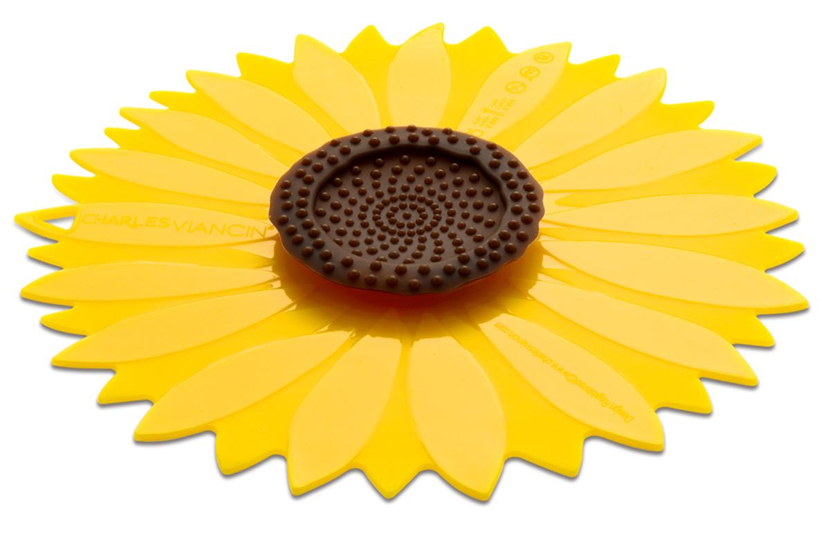 Крышка Charles Viancin Sunflower, цвет: желтый. Диаметр 23 см1102Крышка герметична, привлекательна по дизайну и функциональна. Ее можно использовать в процессе приготовления пищи на плите, в микроволновой печи и в духовом шкафу. Подходит для посудомоечной машины. Можно использовать в холодильнике. Закроет любую емкость с гладким ободом.